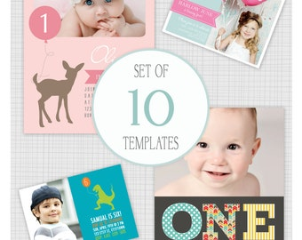 INSTANT DOWNLOAD: 10 PSD kids birthday party invitation templates. Mini Pack 19.