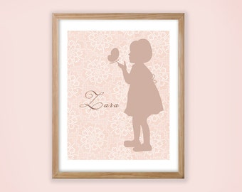 Printable Personalized Nursery Wall Art. Girl with butterfly Silhouette.