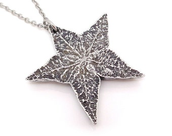 Carambola Necklace, Star Fruit Pendant, Handmade Jewelry in Pewter