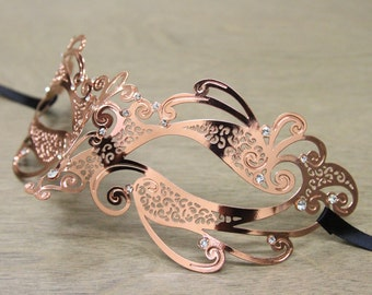 Rose Gold Laser Cut Masquerade Mask with Clear Rhinestones - Thin Metal Mask BC004RG Prom Dance Costume Ball Halloween Women Unisex