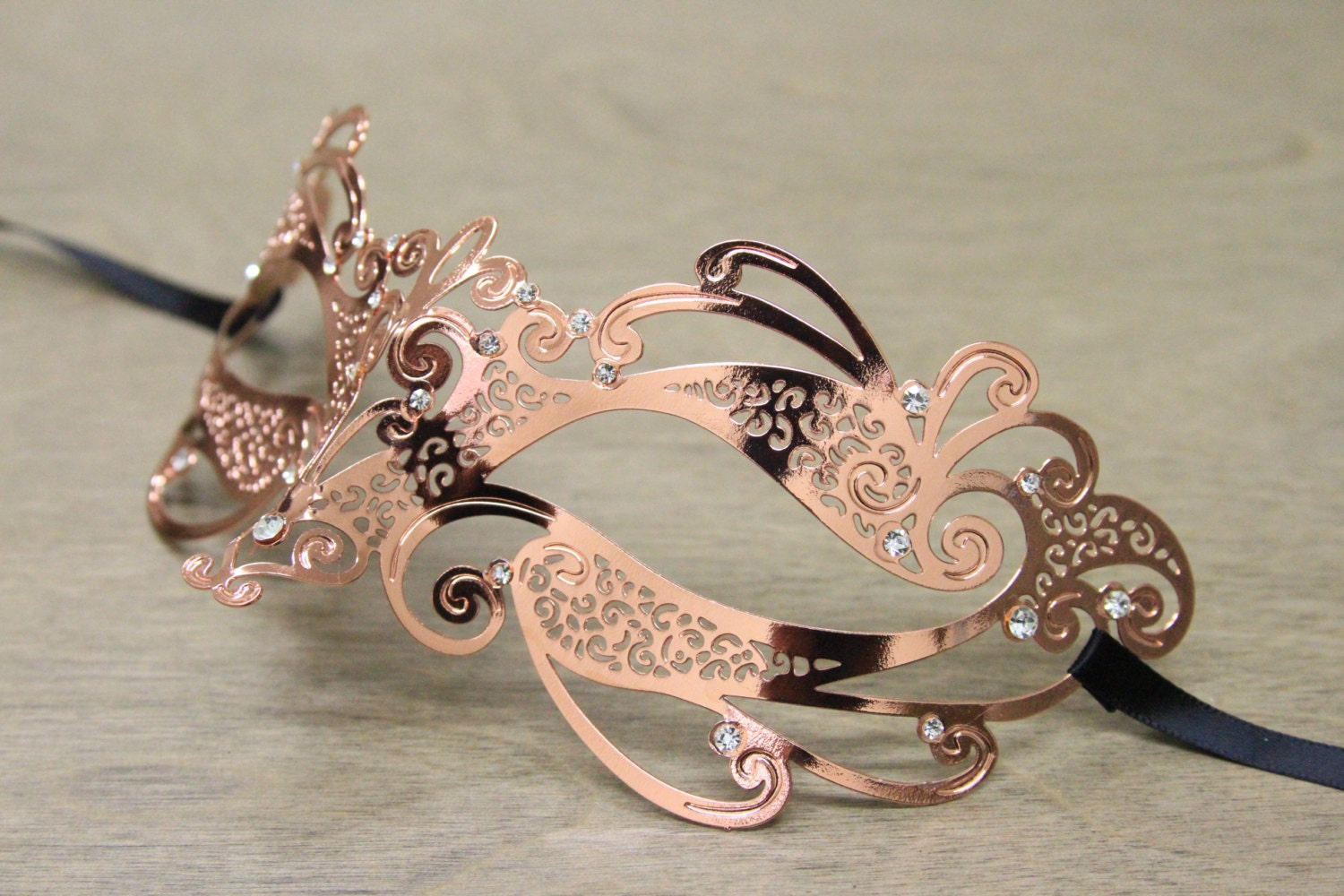 Rose Gold Laser Cut Masquerade Mask with Clear Rhinestones