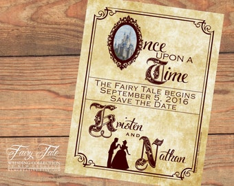 Fairy Tale Wedding Collection - Cinderella Storybook Save the Date Postcard
