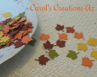 100 Autumn Leaf Confetti  / Autumn Leaves Confetti / Autumn Maple Leaf Confetti / Maple Leaf Confetti / Autumn Die Cut Leaves