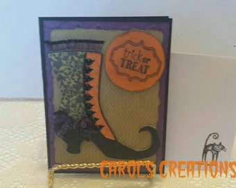 Halloween Witch Shoe Card / Handcrafted Halloween Card / Handmade Halloween Card / Wedding Halloween Card / Fancy Witch Shoe Card