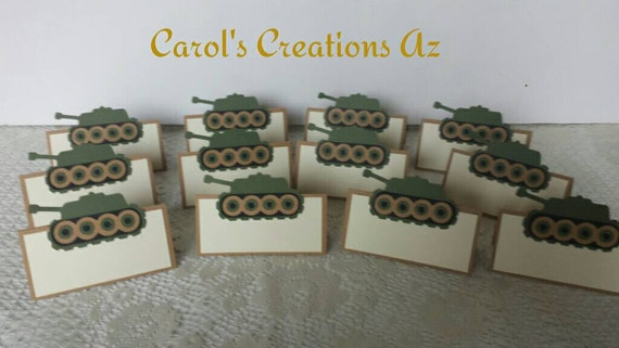 Like this item? & 12 Army Tank Place Cards / Army Tank Tent Tags / Army Party /