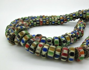 Large Multicolor Old Nepal Glass Beads, 11x5mm, Ethnic Glass Beads(10)