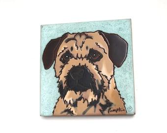 Border Terrier Dog Tile Trivet , Border Terrier Collectibles , Dog Tile Trivet , Dog Decorative Wall Hanging , Pumkin