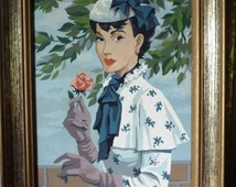 "Paint By Numbers, Young Girl, 1920's Paris Fashion, after the artist: Cherry Huldah, ""Girl In Blue"""