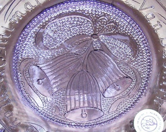 Vintage Commemorative Pairpoint Cup Plate THE WEDDING PLATE - May 9, 1981 – Amethyst Lavendar
