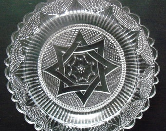 Vintage Pairpoint Glass Cup Plate with Star Design in Center – Clear