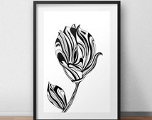 Modern Pen And Ink art Abstract detailed Art Garden drawing Flower poster Black and White flower art Magnolia hand draw contemporary art