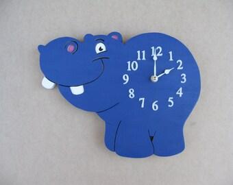 Hippo Wood Wall Clock