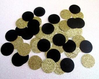 230 Black Glitter Gold Confetti Black Gold Party Bachelorette Confetti Anniversary Confetti New Year's Party Confetti Black Gold Birthday