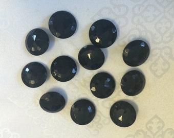 12 Czech Jet Black Glass Shank Buttons. Antique Buttons, Czech Buttons, Glass Buttons, Black Buttons.