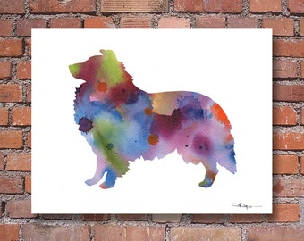Sheltie Art Print - Abstract Shetland Sheepdog Watercolor Painting - Wall Decor