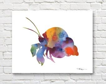 Hermit Crab Art Print - Abstract Watercolor Painting - Wall Decor