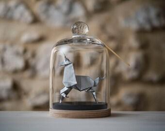 Sculpture licorne origami cloche verre papier par - Papier cadeau personnalisable ...