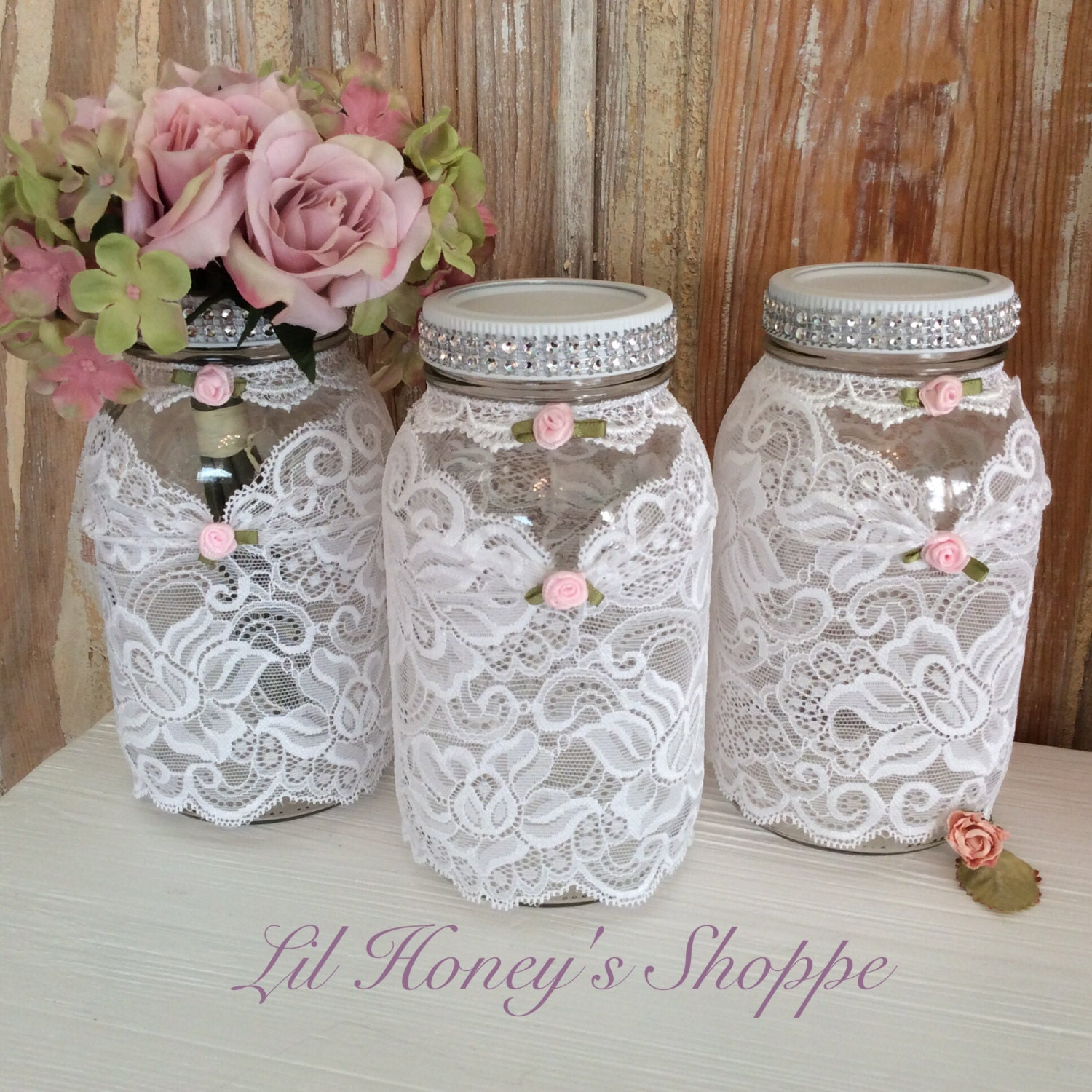 Country Wedding Mason Jars: Wedding Mason Jars Shabby Chic Country Lace Sleeve With