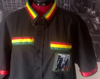 handmade to order male the clash white riot rasta punky reggae retro style shirt short sleeve long sleeve no sleeve