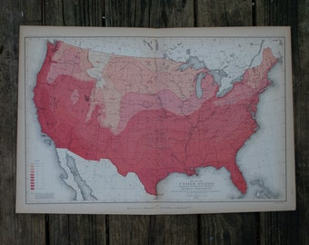 1883 - United States Map - Large & Colorful Map - Antique Map of United States - Temperature Map - Colorful Map Census - Gift - CM24