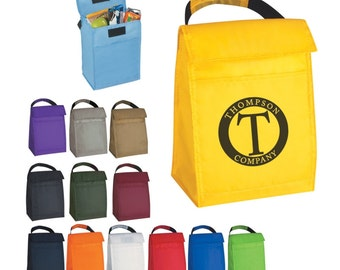 100 Insulated Lunch Cooler Bags, Personalized Lunch Cooler Bags, Insulated Lunch Bags, Personalized with a Custom School Logo
