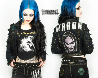 BADASS DENIM 'Terror jacket' Size: S/M jeans punk long sleeve studded zombie Rock 80's Trashy Patched Customised distressed frayed horror