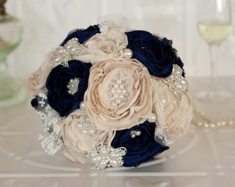 Vintage Inspired Brooch Wedding Bouquet, Champagne and Navy satin, chiffon and Lace Bouquet