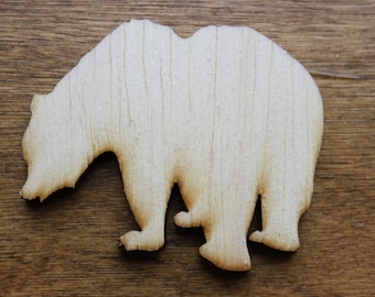 Small Grizzly Bear Wood Cutouts - Shapes for Projects or Other Use