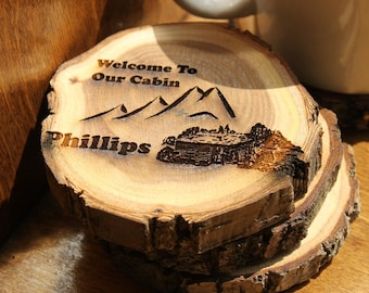 Welcome to our Cabin 4 Inch Personalized Coaster Set (4)