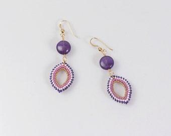 Amethyst earrings, bohemian earrings, purple gemstone earrings, marquise earrings, natural stone earrings, 389