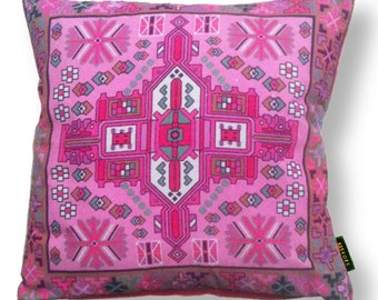Pink velvet cushion cover PINK ORCHID