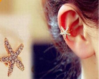 Pretty diamante starfish cuff wrap earring