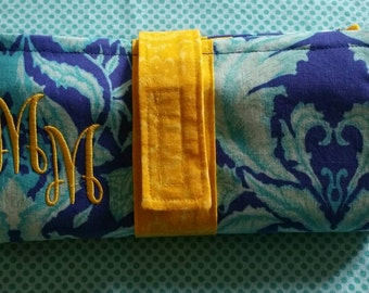 Blue and yellow cash envelope wallet