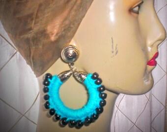 Chic crochet turqoise hoop earrings