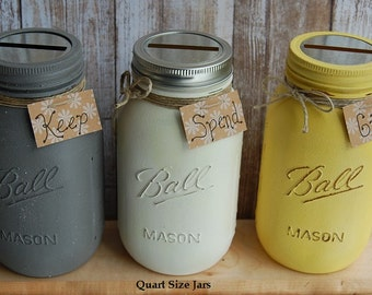 3-Pack Give Save Spend ~ Keep Spend Donate ~ Jars ~ Vintage Look ~ QUART or PINT SIZE ~ Featured in Granite ~ Vanilla Ice Cream ~ Lemon