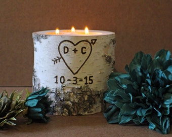 Wedding Centerpiece, Personalized Rustic Birch Candle Holder Custom Initials & Wedding Date