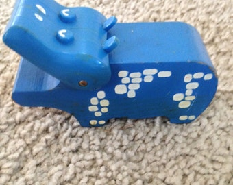 Blue Wooden Hippo Toy
