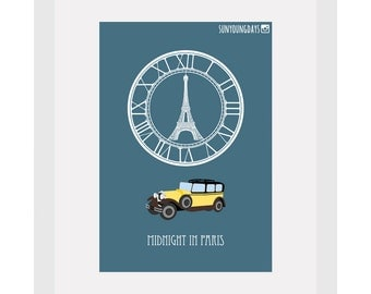 midnight in paris movie poster postcard 4'X6'