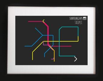 taipei metro line map 4'X6'