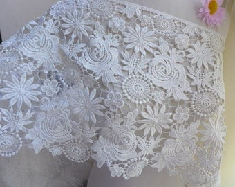"11.4""wide venice lace graceful white lace fabric for bridal dress, DIY wedding gown, garments"