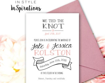 Personalized DIGITAL File: We tied the knot - Wedding Invitation with rustic style banner