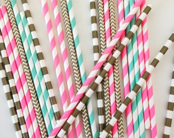 25 Gender Reveal Party Straws in Gold, Pink and Blue | Paper Straws | Gender Reveal Straws | Gold Baby Shower