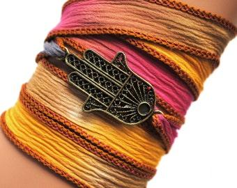 Silk wrap bracelet hamsa yoga Fatima  spiritual, unique gifts, bohemian, boho