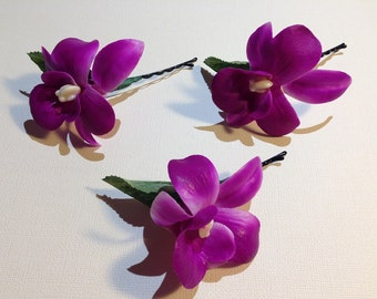 PURPLE CYMBIDIUM-Hair Pin.Real Touch,Orchid,Purple,Bobby pins.Waterproof.Beach Bride,Beach wedding,Bridal Hair,Hawaii,Pin-ups,Hula.