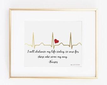 Hospital Door Hanger | Nursing Student | Nurse Gift | Nurse | Gift for Nurse | EKG  I Will Dedicate My Life Printable Art | Instant Download