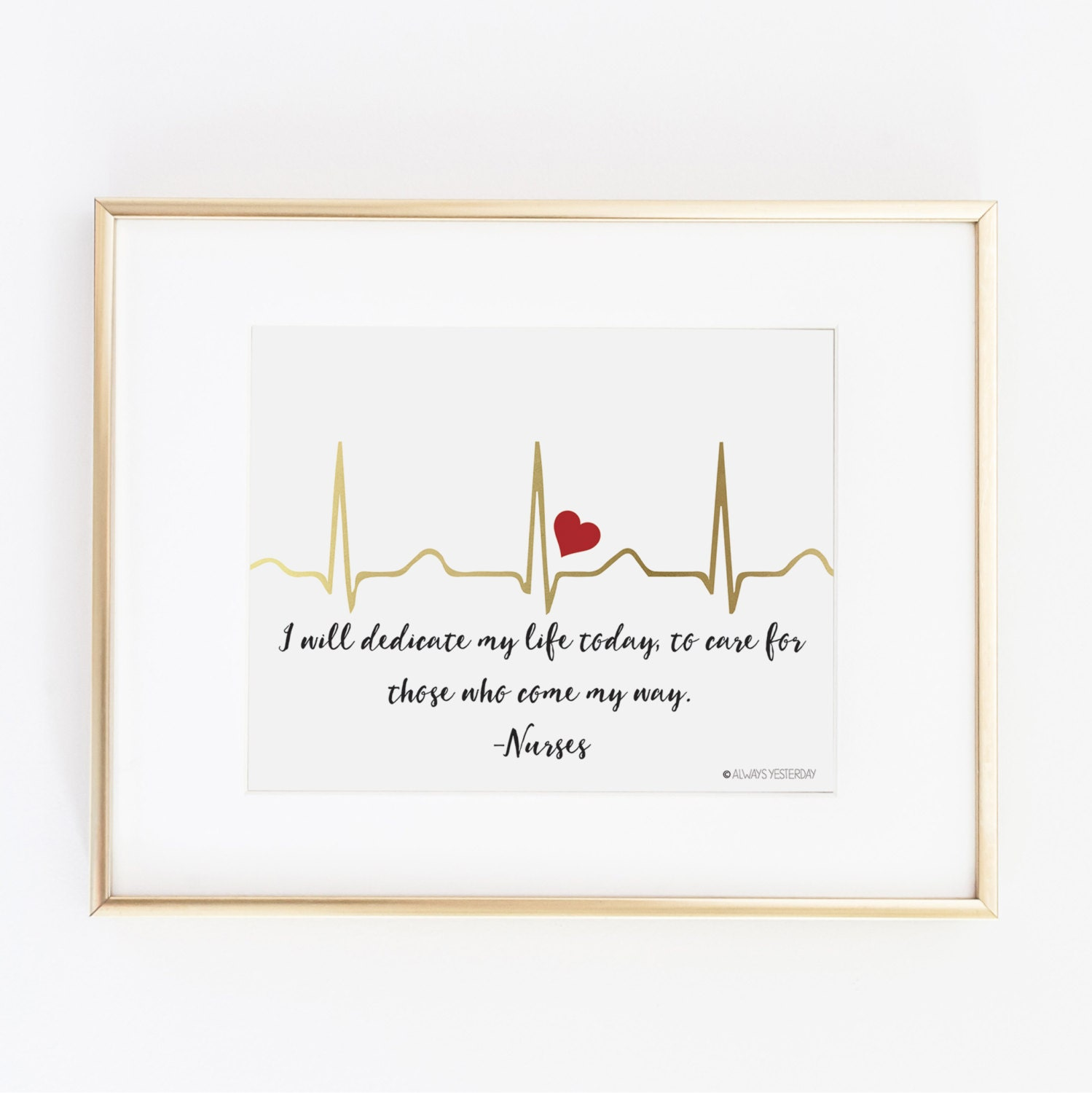 Ekg i will dedicate my life today 8x10 nurse wall art - Graduation gift for interior design student ...