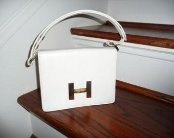 Vintage white leather  H  handbag