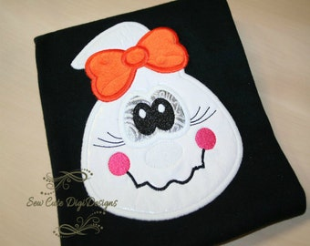 Cute Halloween Girl Ghost Applique Design