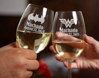 1 Personalized Wine Glasses - Custom Engraved Wine Glasses - Bridesmaids Gift - Wedding Toasting Glasses
