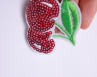 cherry patches sequin applique iron on hotfix sew on UK